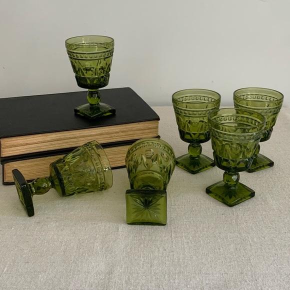 Vintage Olive Green Glass Set/6 Goblets
